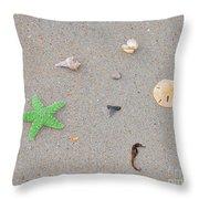 Sea Swag - Green Throw Pillow