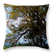 Sea Through Trees Throw Pillow