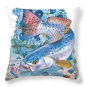 Sea Trout Wreck Throw Pillow by Carey Chen