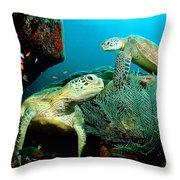 Sea Turtle Oil On Canvas Throw Pillow