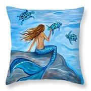 Sea Turtle Friends Throw Pillow