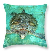 Single Sea Turtle Swimming Through The Water Throw Pillow