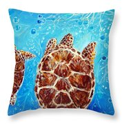 Sea Turtles Swimming Towards The Light Together Throw Pillow