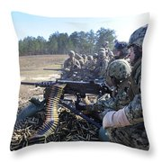Seabees Fire The M2 .50-caliber Machine Throw Pillow