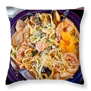 Seafood Fetticinni Alfredo At Cafe Cups Restaurant In Homer-ak   Throw Pillow