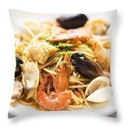 Seafood Pasta Dish Throw Pillow