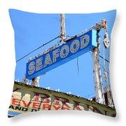 Seafood Sign Throw Pillow