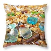 Seaglass Coastal Beach Rock Garden Agates Throw Pillow