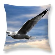 Seagull And Clock Tower Throw Pillow by Bob Orsillo