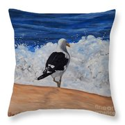 Seagull And Surf Throw Pillow