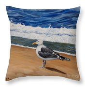 Seagull At The Seashore Throw Pillow