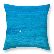 Seagull Cruising Over Azure Blue Sea Throw Pillow