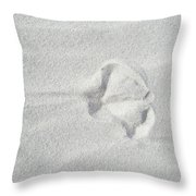 Seagull Footprint On The Sand Throw Pillow