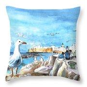 Seagull In Essaouira In Morocco Throw Pillow