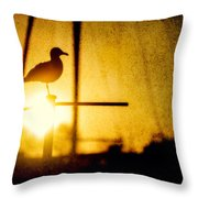 Seagull In Harbor Sunset Throw Pillow