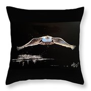 Seagull In The Moonlight Throw Pillow
