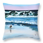 Seagull In The Sand Throw Pillow