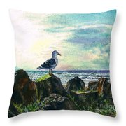 Seagull Lookout Throw Pillow