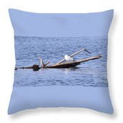 Seagull On Driftwood Throw Pillow