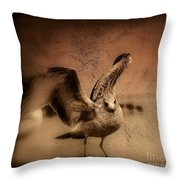 Seagull Ready To Fly Throw Pillow