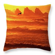 Seagull Soaring Over The Surf At Sunset Oregon Coast Throw Pillow