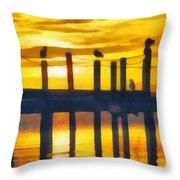 Seagull Sunset Throw Pillow