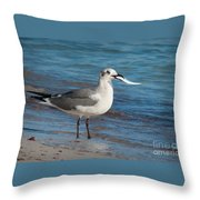 Seagull With Fish 1 Throw Pillow