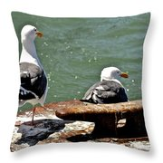 Seagulls Against Rust Throw Pillow