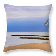 Seagulls And Sun Throw Pillow