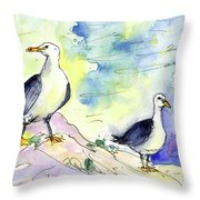 Seagulls In Calpe In Spain Throw Pillow