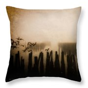 Seagulls Of Old Pilings Portland Maine Throw Pillow