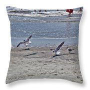 Seagulls On The Beach Throw Pillow