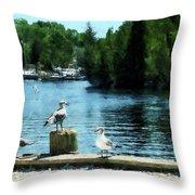 Seagulls On The Pier Throw Pillow