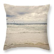 Seagulls Take Flight Over The Sea Throw Pillow