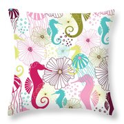 Seahorse Flora Throw Pillow