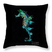 Seahorse II Underwater Ripple Throw Pillow