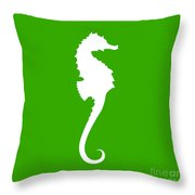 Seahorse In Green And White Throw Pillow