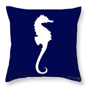 Seahorse In Navy And White Throw Pillow