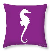 Seahorse In Purple And White Throw Pillow