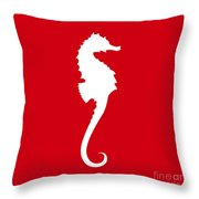 Seahorse In Red And White Throw Pillow