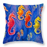 Seahorse March Throw Pillow