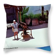 Seal And Trainer Throw Pillow