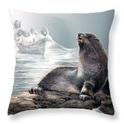Harp Seal And Native Hunters Throw Pillow