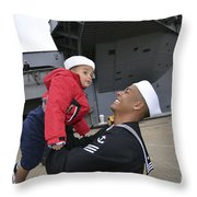 Seaman Greets His Son Throw Pillow by Stocktrek Images