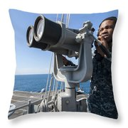 Seaman Stands Lookout Aboard Throw Pillow
