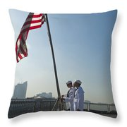 Seamen Participate In Morning Colors Throw Pillow
