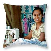 Seamstress At Her Sewing Machine In Tachilek-burma Throw Pillow