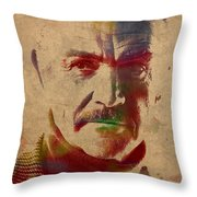 Sean Connery Actor Watercolor Portrait On Worn Distressed Canvas Throw Pillow