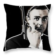 Sean Connery James Bond Square Throw Pillow by Tony Rubino