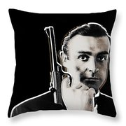 Sean Connery James Bond Vertical Throw Pillow